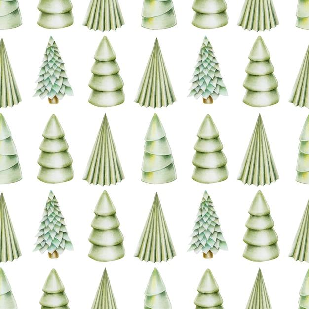 Seamless pattern of hand drawn christmas trees Premium Vector