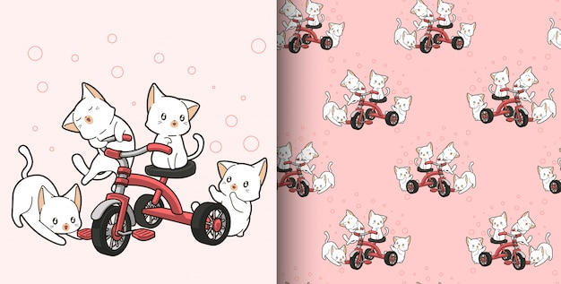 Seamless pattern hand drawn kawaii cats are riding tricycle Premium Vector