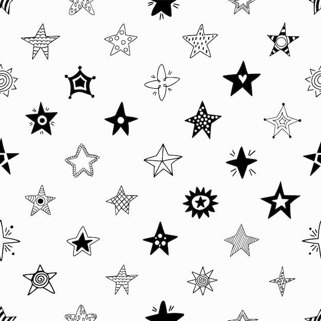 Seamless pattern of hand drawn stars. Premium Vector