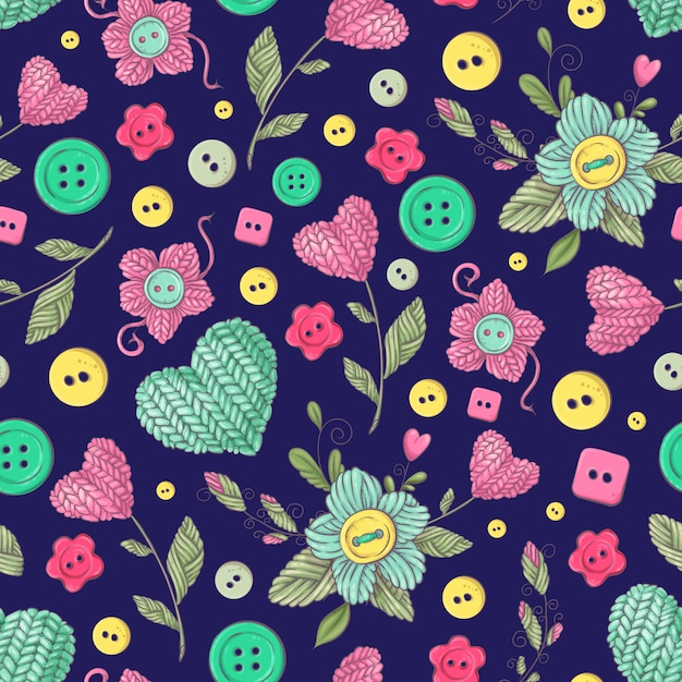 Seamless pattern handmade knitted flowers and elements Premium Vector