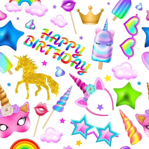Seamless pattern happy birthday. Free Vector
