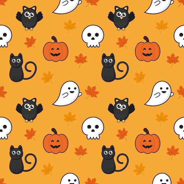 Seamless pattern happy halloween icons isolated on orange background. Premium Vector