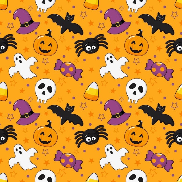 Seamless pattern happy halloween icons isolated on orange Premium Vector