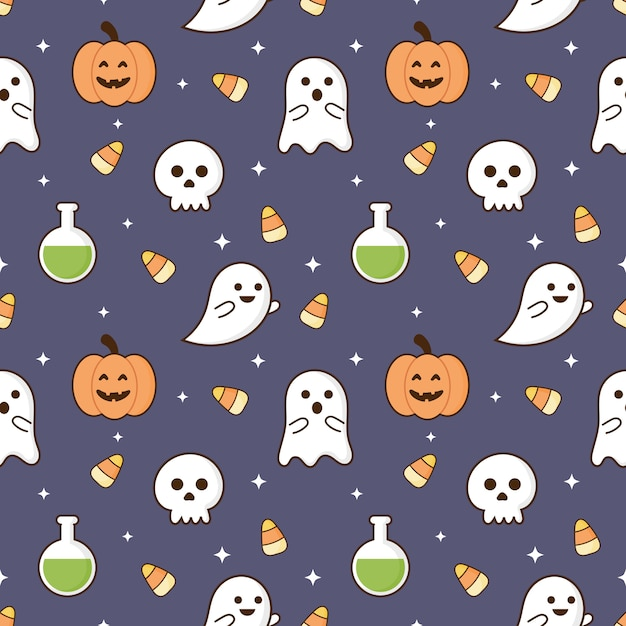 Seamless pattern happy halloween icons isolated on purple background. Premium Vector