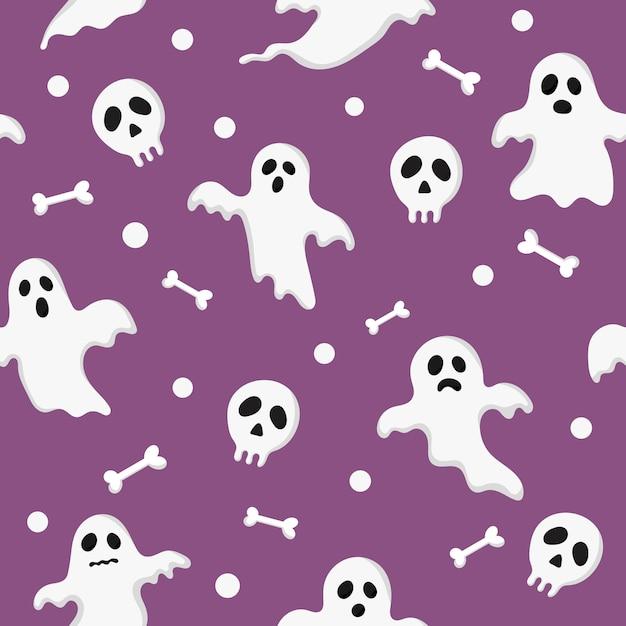 Seamless pattern happy halloween icons isolated on purple. Premium Vector