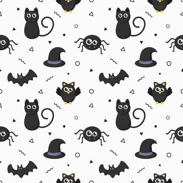 Seamless pattern happy halloween icons isolated on white background. Premium Vector