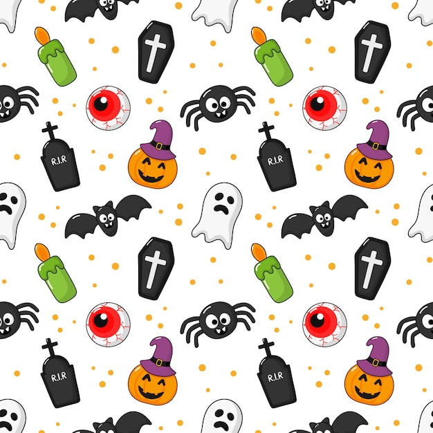 Seamless pattern happy halloween icons isolated on white. Premium Vector