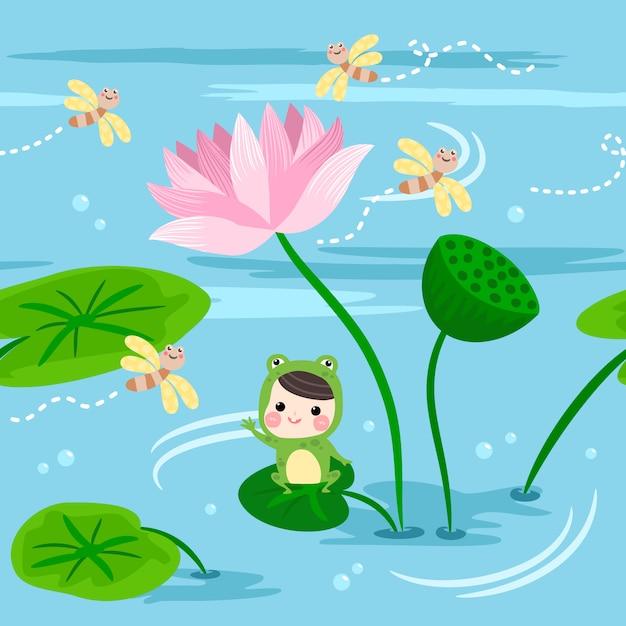 Seamless pattern happy kids in frog suit sit on the lotus leaf. Premium Vector
