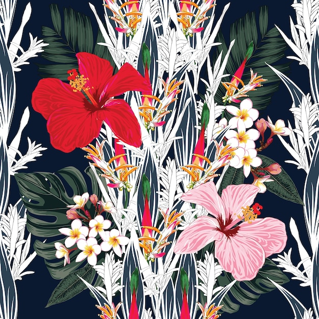 Seamless pattern hibiscus,frangipani bird of paradise flowers abstract background. hand drawn. Premium Vector