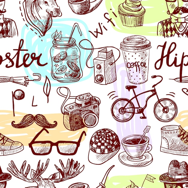 Seamless pattern hipster Premium Vector