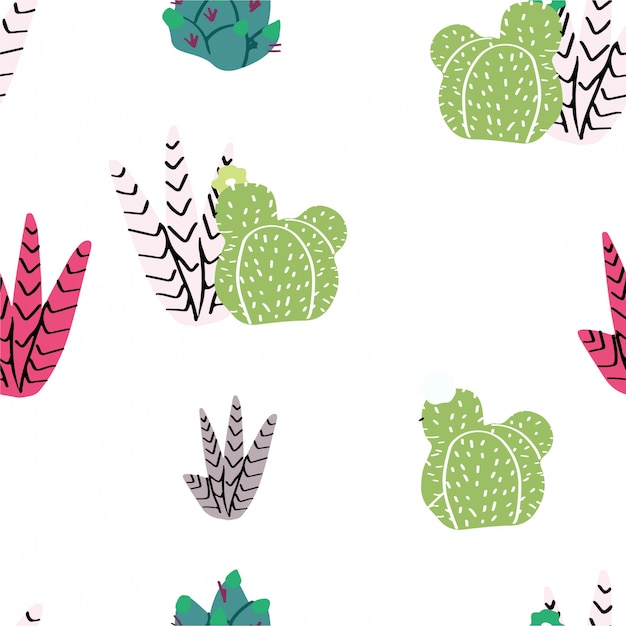 Seamless pattern, home decor in modern scandic style. succulents, cactuses and other plants growing in florariums Premium Vector
