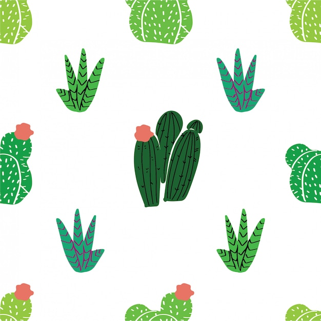 Seamless pattern home decor in modern scandic style. succulents, cactuses and other plants growing in florariums Premium Vector