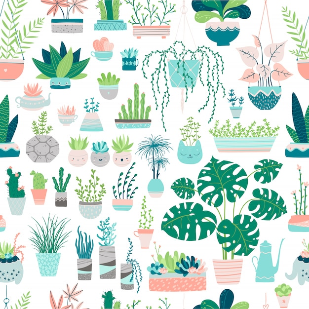 Seamless pattern of home plants in pots. illustrations in free hand drawn style. images in pastel colors on a white background. compositions of cacti, succulents, palms, monstera, herbs, etc Premium Vector