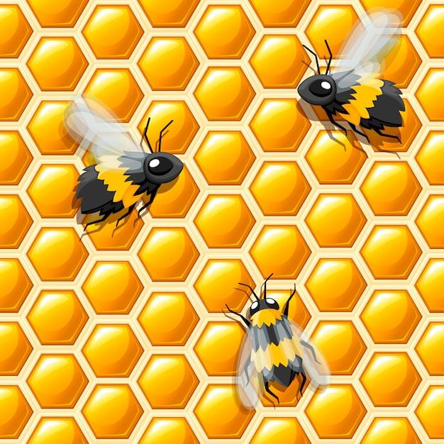 シームレスパターン。ハニカムとミツバチのスタイル。図。医療の抽象的なパターン、蜂蜜天然物 Premiumベクター