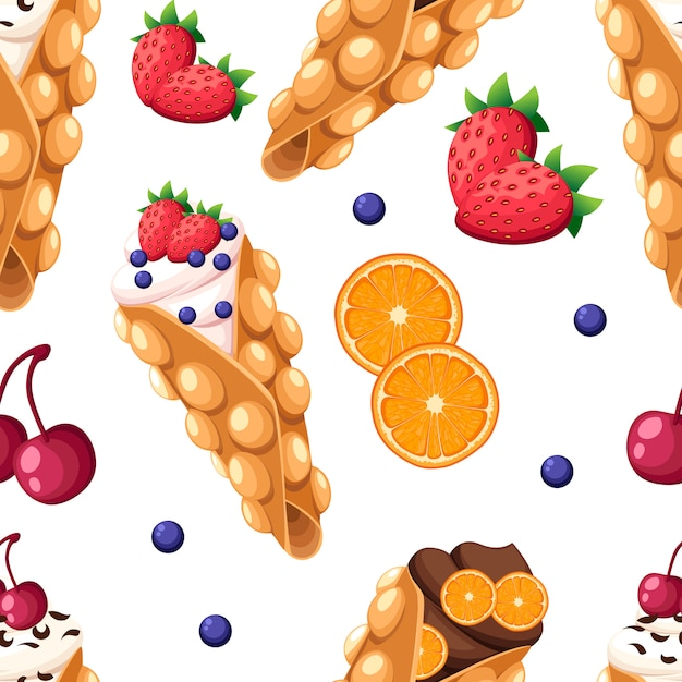 Seamless pattern hong kong waffle with cherry strawberry orange and whipped or chocolate cream  illustration  on white background website page and mobile app Premium Vector