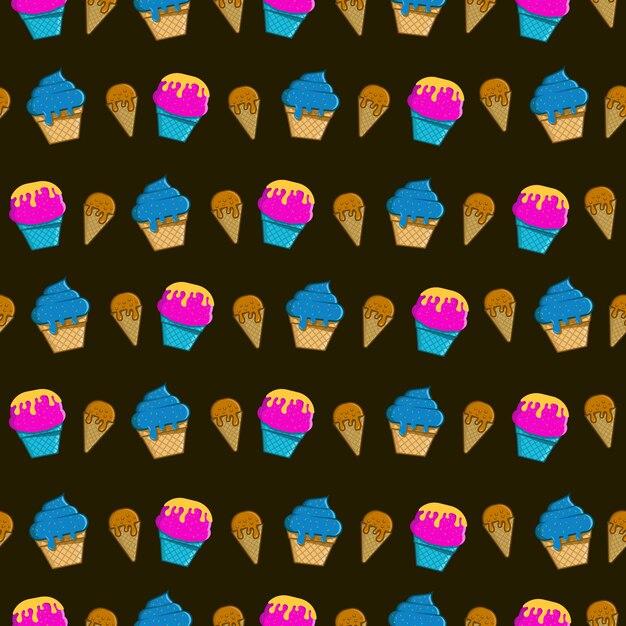 Seamless pattern ice cream wallpaper Premium Vector