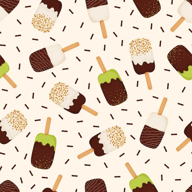 Seamless pattern of ice cream with chocolate, nuts, pistachios Premium Vector