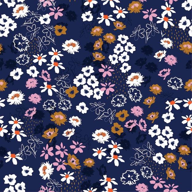 カラフルな小さなかわいい花のシームレスパターン。リバティスタイル咲く草原花柄 Premiumベクター