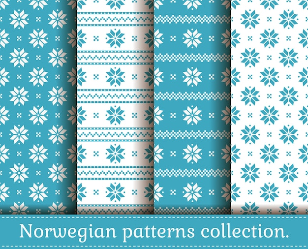 전통적인 노르웨이 스타일의 완벽 한 패턴입니다. 밝은 파란색과 흰색 색상의 크리스마스와 겨울 패턴의 집합입니다. 프리미엄 벡터