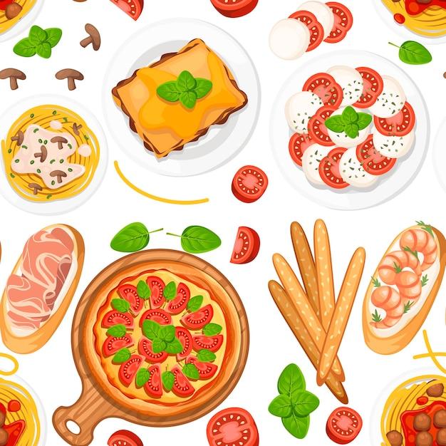 シームレスパターン。イタリア料理。ピザ、スパゲッティ、リゾット、ブルスケッタ、グリッシーニ。皿と木の板の上の古典的なイタリア料理。 Premiumベクター