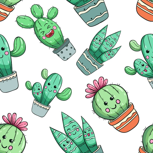 Seamless pattern of kawaii cactus with cute face Premium Vector