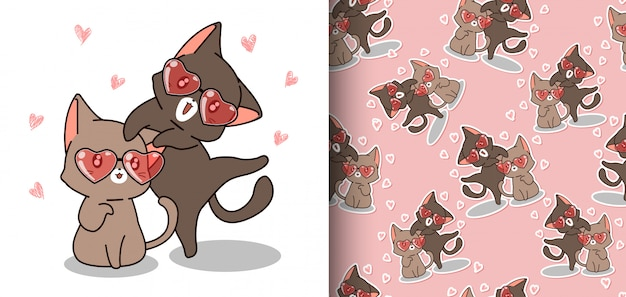 Seamless pattern kawaii cats are wearing heart glasses Premium Vector