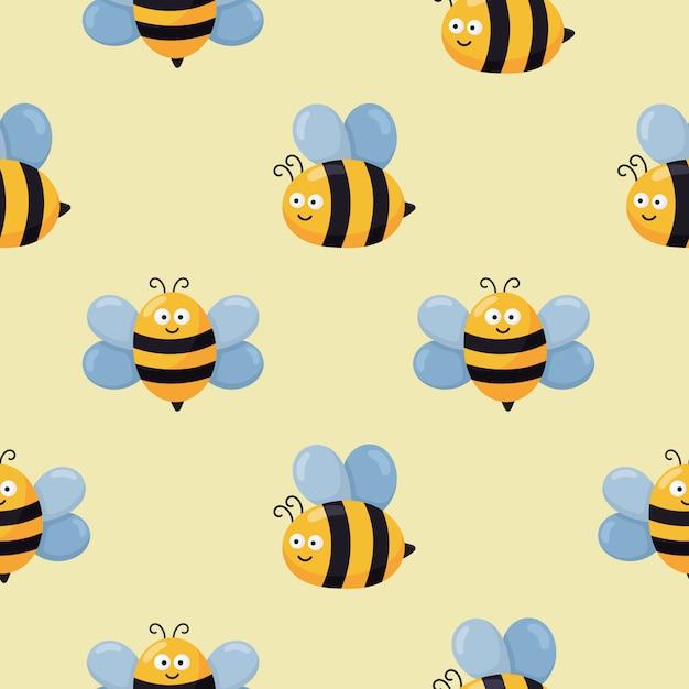 Бесшовный фон каваи милый ребенок пчела мультфильм. вектор иллюстрации. Premium векторы