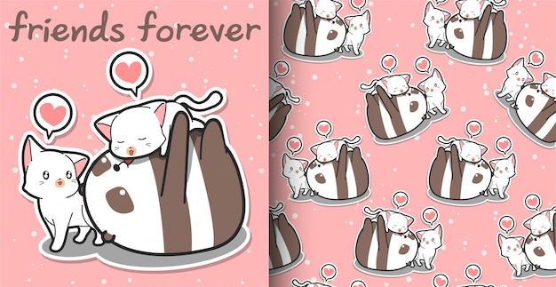 Seamless Pattern Kawaii Panda And Cat Cartoon Characters On