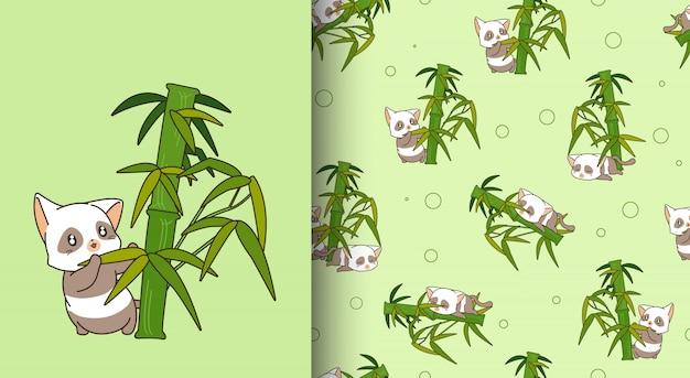 Seamless pattern kawaii panda cat character with bamboo Premium Vector
