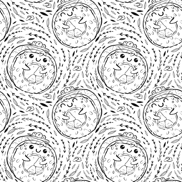 Seamless pattern of kawaii rolls and sushi in manga style. tasty and cute japanese food Premium Vector