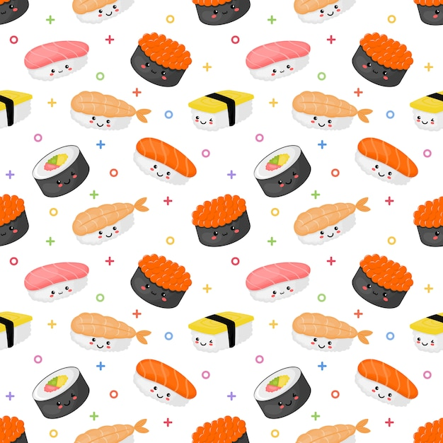 Seamless pattern kawaii sushi and sashimi Premium Vector