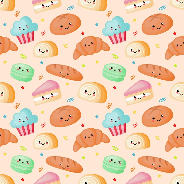 Seamless pattern kawaii sweet and dessert on cream Premium Vector