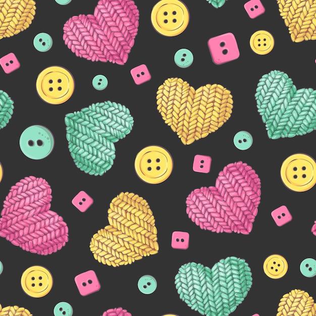 Seamless pattern knitting buttons heart. Premium Vector