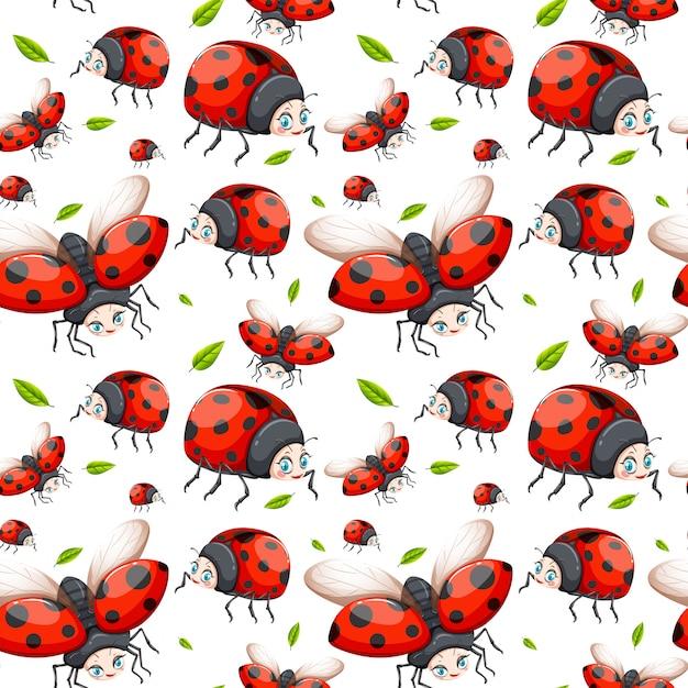 Seamless pattern of ladybug Free Vector