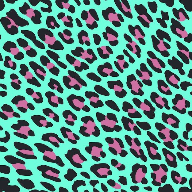 Seamless pattern leopard skin on blue background Premium Vector