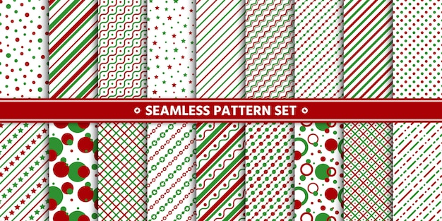 Seamless pattern line circle star set, paper wrap,  white red green. Premium Vector