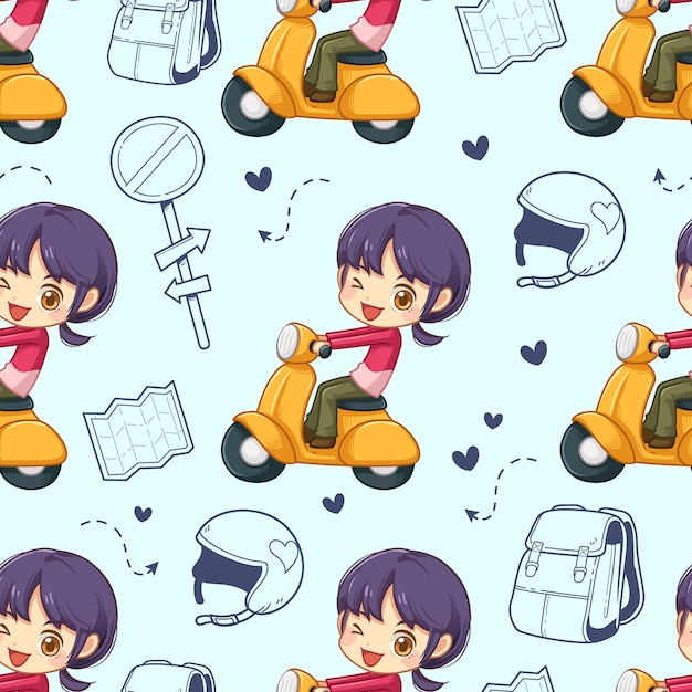 Seamless pattern of little girl riding a motorcycle and accessory, vector Premium Vector