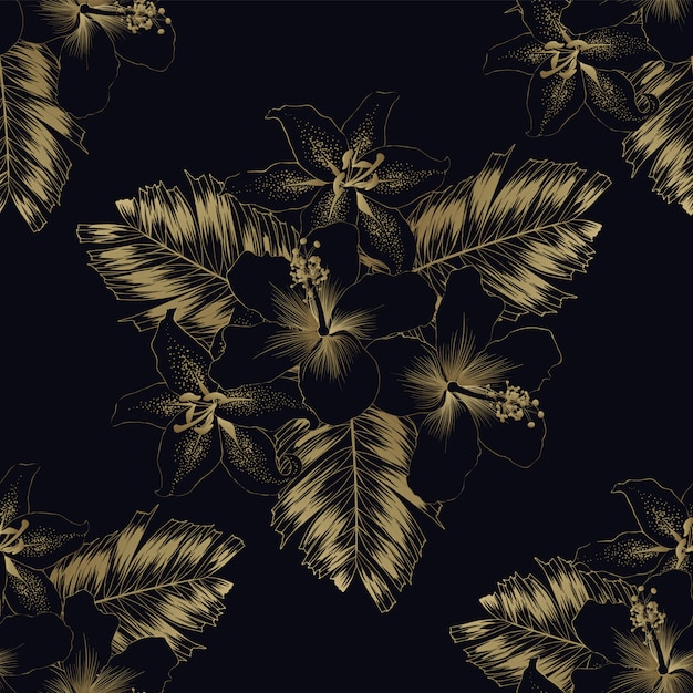 シームレスパターン高級ゴールドハイビスカスとユリの花とヤシの葉 Premiumベクター