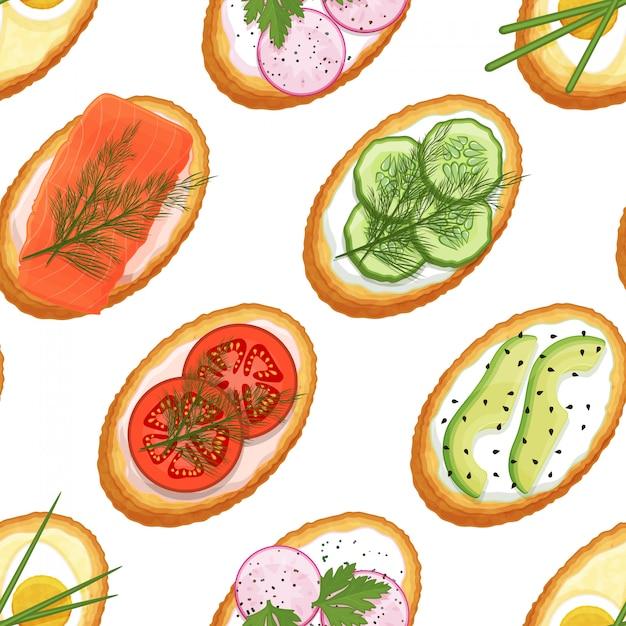 Бесшовный фон из тостов с разными начинками на белом фоне. вкусные бутерброды. бесконечный образ. мультяшный стиль объект для упаковки, рекламы, меню. векторная иллюстрация Premium векторы