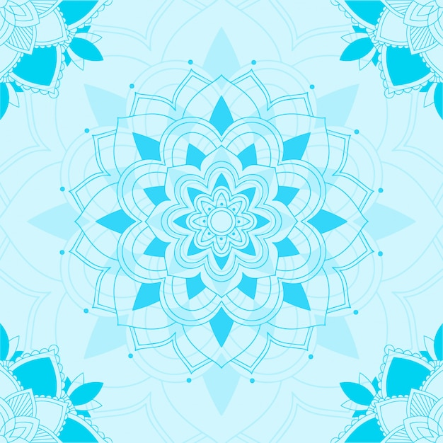 Seamless pattern of mandala in blue Free Vector