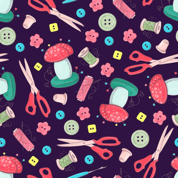 Seamless pattern of mannequin sewing accessories Premium Vector