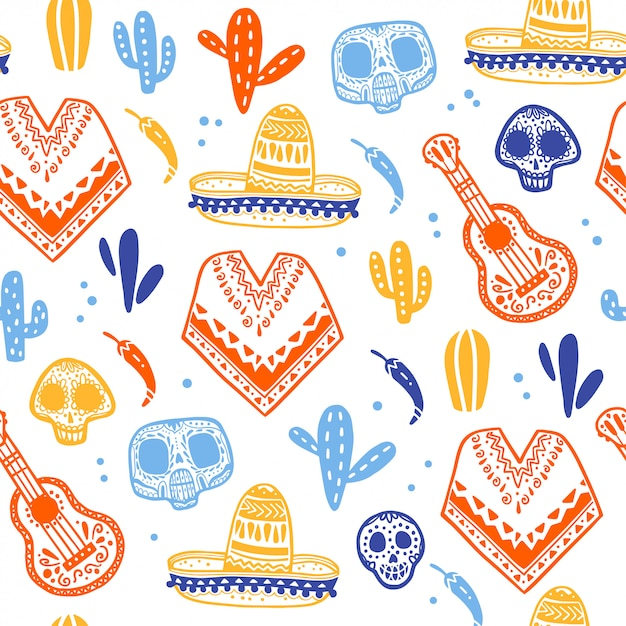Seamless pattern for mexico traditional celebration - dia de los muertos - with skull, poncho, cacti, guitar, sombrero isolated on white background. good for packaging design, print, decor, web Premium Vector