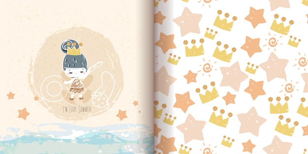 Seamless pattern minimalist drawing doodle, princess painting with glittering gold. Premium Vector