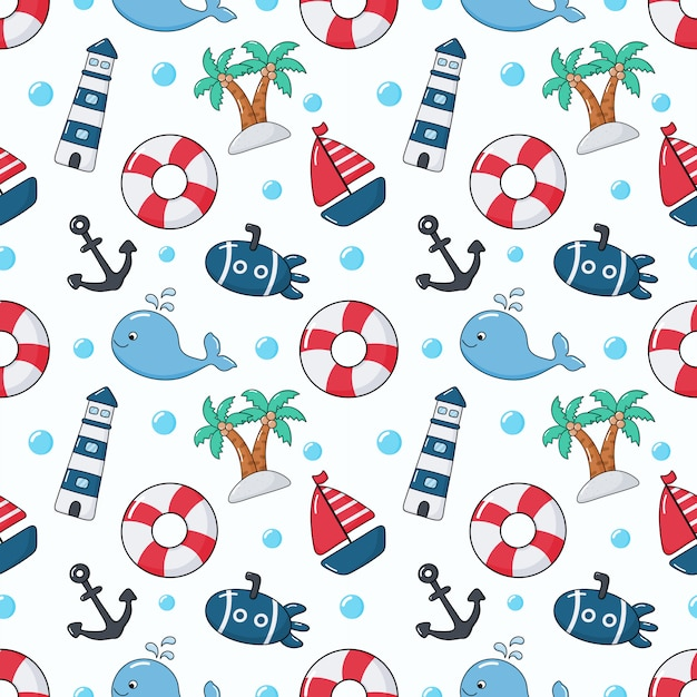 Seamless pattern nautical icons cartoon style Premium Vector
