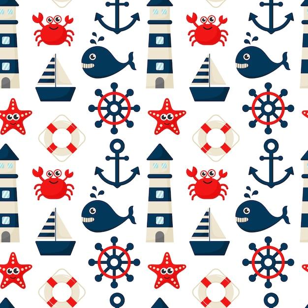 Seamless pattern nautical icons cartoon style Premium Vector