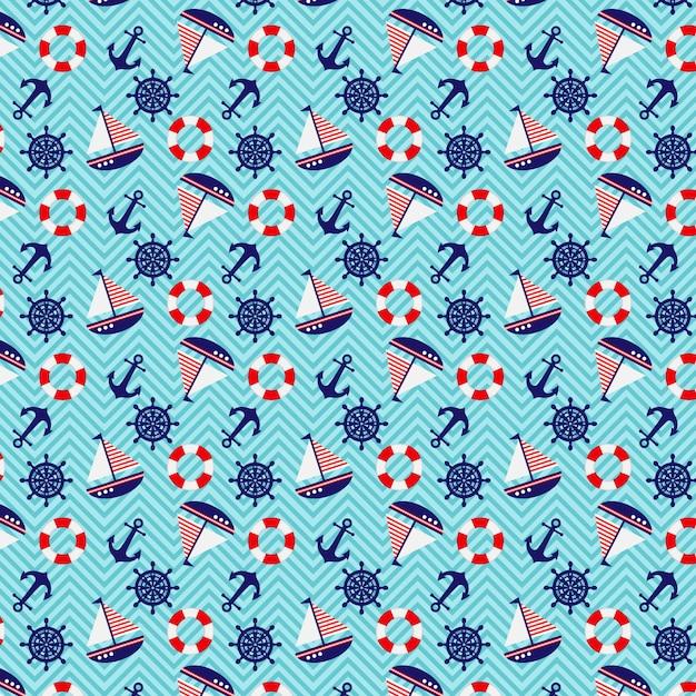 Seamless pattern nautical theme Premium Vector