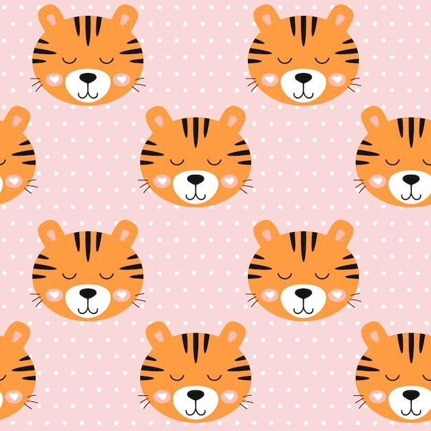 シームレスパターン保育園かわいい虎とピンクの背景のドット。 Premiumベクター
