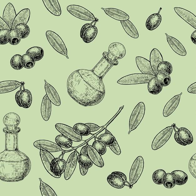 Безшовная картина ветви оливок и оливкового масла. ручной обращается бесшовные модели с оливками и ветвями деревьев для продуктов питания и оливкового масла этикетки. иллюстрация в стиле ретро. Premium векторы