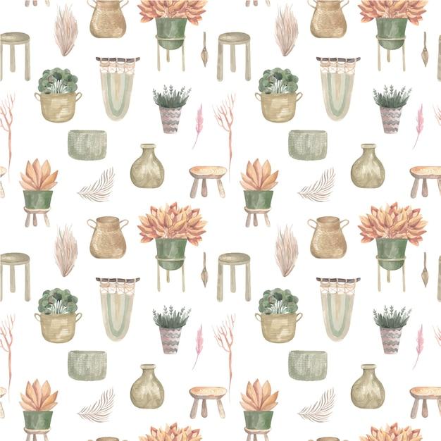 バスケットとハンギングポットのマクラメの装飾の自由奔放に生きる植物と屋内の花のシームレスなパターン。 Premiumベクター
