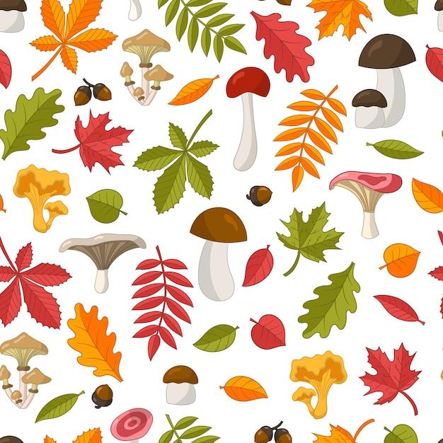 Бесшовные модели из ярких красочных осенних листьев: дуб, клен, каштан, рябина, береза, липа и съедобные лесные грибы. изолировать на белом фоне Premium векторы